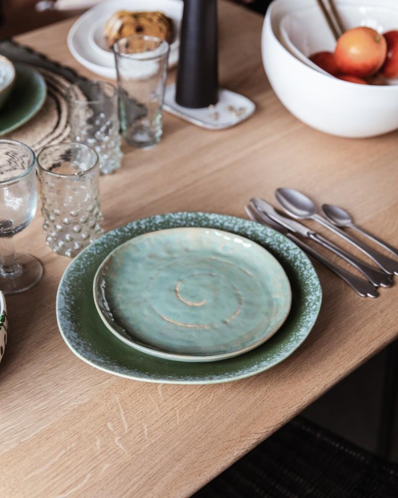 Petite Assiette en grès émaillé - Vert de Mer