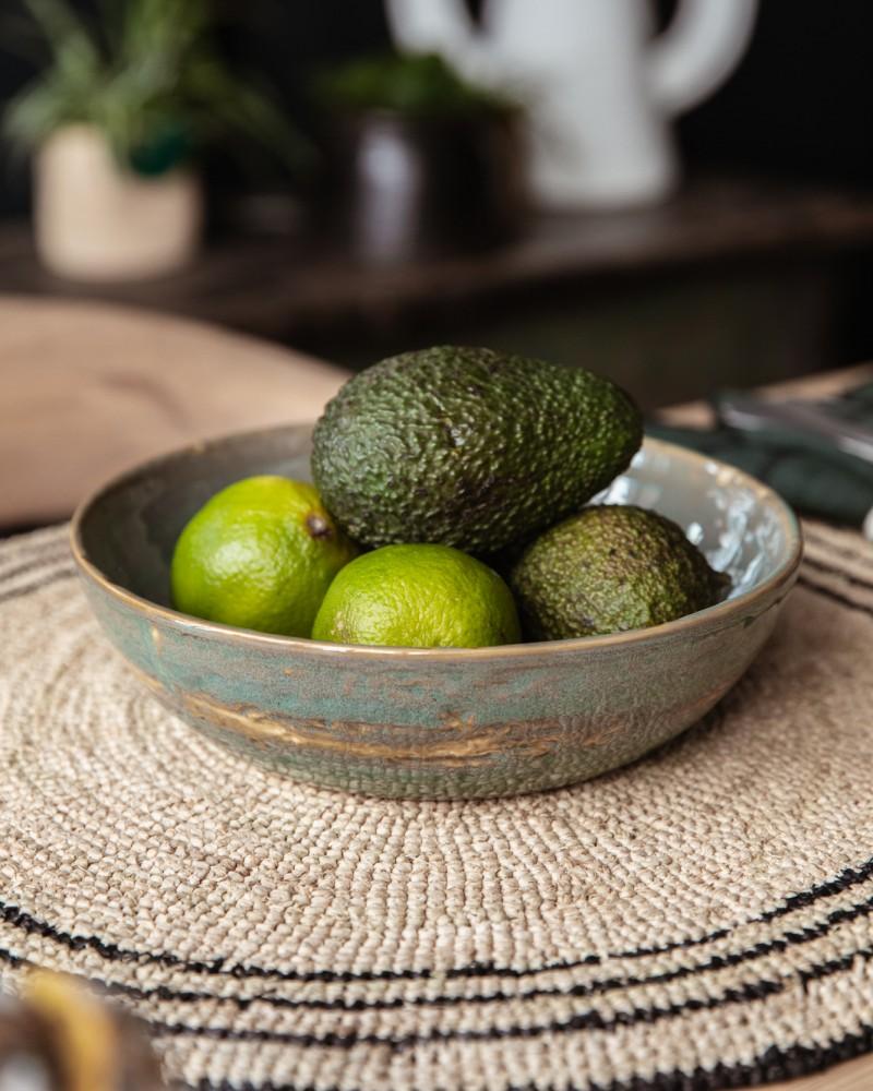 Petit plat en grès émaillé - Vert de Mer